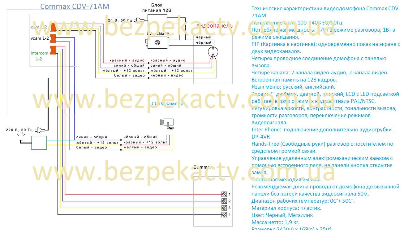 Схема подключения видеодомофона commax cdv 71am 960