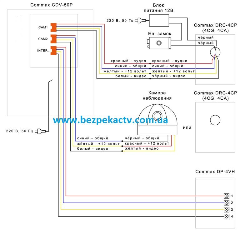 Схема подключения видеодомофона Commax CDV-50P.
